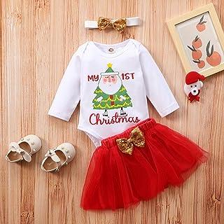 Christmas Tree Print Jumpsuit + Skirt Newborn Baby Girls Christmas Romper Bodysuit+Bowknot Tulle Skirt Set Baby