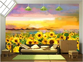 wall26 - Oil Painting Yellow- Golden Sunflower, Daisy Flowers in Fields. - Removable Wall Mural | Self-Adhesive Large Wallpaper - 66x96 inches