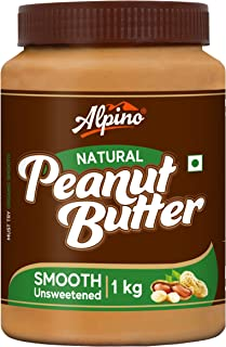 Alpino Natural Peanut Butter Smooth 1 KG | Unsweetened | Made with 100% Roasted Peanuts | No Added Sugar | No Added Salt |...