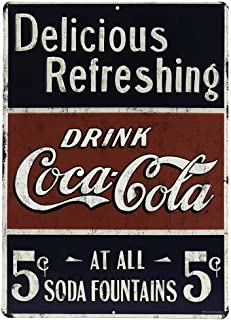 Open Road Brands Coca-Cola Vintage Retro Delicious Refreshing Sign Metal Tin Wall Art - Coca-Cola Officially Licensed Product - Perfect Size for Home Decor