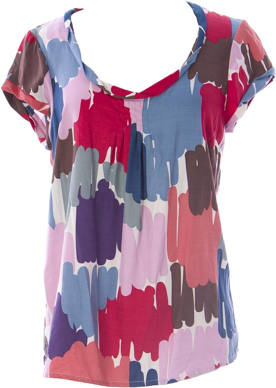 BODEN Women's Cuff Detail Palazzo Top US Sz 2 Multicolord