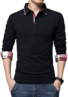 Men's Casual Solid Stripe Long Sleeve Slim Fit Polo Cotton T Shirt