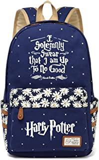 JUSTRHICE Korean Casual Canvas Backpack Laptop Bookbag School Bag Daypack for Harry Potter Cosplay (Dark Blue 5)