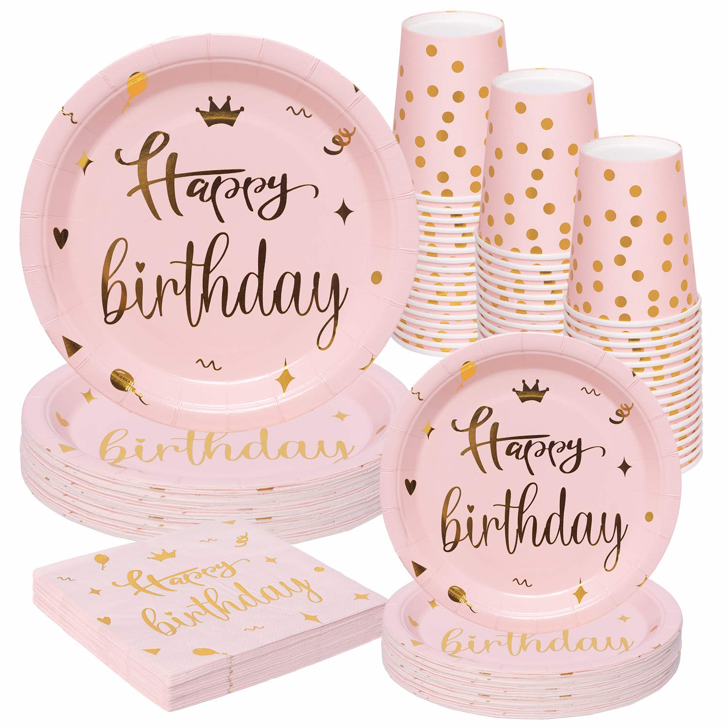 8 Pack Party Tableware Birthday Party Birthday Tableware 8 Pink Gold Happy Birthday Plates Pink Spotty and Stripy Party Plates