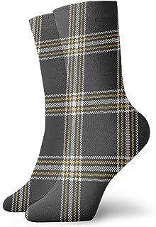 Black White Yellow Stripe Tartan Plaidseamless Crew Socks for Men - Men's Sport Socks - Athletic Socks