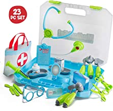 JaxoJoy 24-Piece Doctor's Set - Pretend and Play Medical Kit with Complete Accessories - Educational Playset for Aspiring Doctors for Boys and Girls Ages 3+