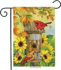 Briarwood Lane Cardinals & Sunflowers Autumn Garden Flag Fall Leaves Birds 12.5