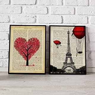 Nacnic Poster Pack Paris Je T'Aime. Pictures of Eiffel Tower and Tree of Love with Love Definition in Spanish. Size 8''x11''