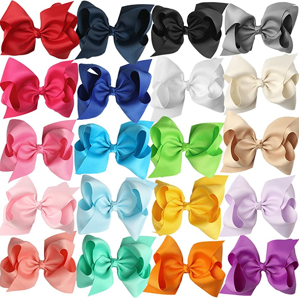 XIMA 5inch Big Hair Bows with Alligator Clips for Girls and Women Bows Clips (20pcs-With Alligator clip)