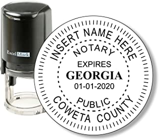 Round Notary Stamp for State of Georgia - Self Inking Stamp - Features The ExcelMark Double Sided Ink Pad for Longer Product Life