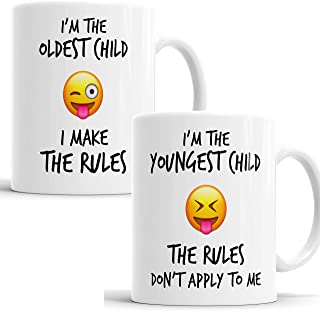 Youngest Oldest Child Sister Brother Rules Emoji Funny Coffee Mug Tea Cup Gift Set