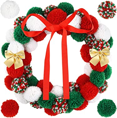 Caydo16 inch Christmas Pom Poms Wreath Ornaments Include Gold Bowknots, Red Ribbon, Large Pom poms for DIY Front Door Christmas Wreath Decorations