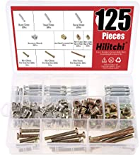 Hilitchi 125 Pcs 3 in 1 Furniture Cam Fittings Dowels Pre-Inserted Nuts and Zinc Plated Hex Drive Socket Cap Furniture Barrel Nuts Assortment Kit for Furniture Cabinet Connecting