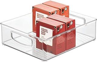iDesign bac rangement frigo, grande boîte alimentaire en plastique, boîte conservation alimentaire à poignées, transparent