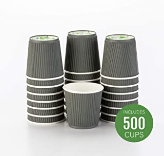 500-CT Disposable Gray 4-OZ Hot Beverage Cups with Ripple Wall Design: No Need for Sleeves – Perfect for Cafes – Eco-Friendly Recyclable Paper – Insulated – Wholesale Takeout Coffee Cup