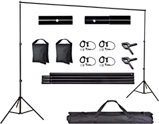 AW Backdrop Stand Kit 7 x 10ft Adjustable Background Support System Stand Kit 2 Spring & 4 Clips Carry Bag for Studio Phot...