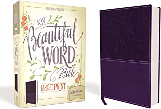 KJV, Beautiful Word Bible, Large Print, Leathersoft, Purple, Red Letter Edition: 500 Full-Color Illustrated Verses