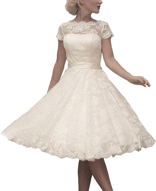 Fannybrides Women's Floral Lace KneeLength Short Wedding Dress Bridal Gown