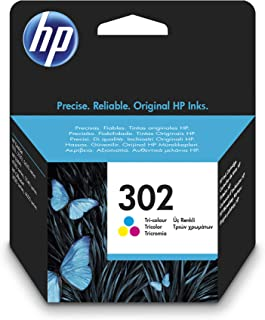 HP 302 F6U65AE, Cartucho de Tinta Original Tricolor, Compatible con impresoras de inyección de tinta HP DeskJet 1110,2130,3630; ENVY 4520; OfficeJet 3830,4650,5220,5230