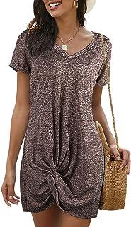 GOSOPIN Women V Neck Short Sleeve Solid T Shirt Side Knot Sundress