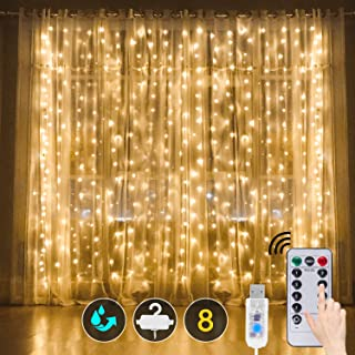 Curtain String Light, Window Curtain Lights 8 Modes with Remote USB Powered Waterproof Fairy Twinkle Lights for Wedding Pa...