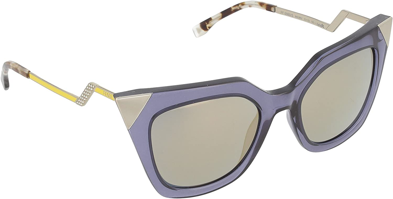 Fendi Women's Iridia Corner Accent Sunglasses, bluee Grey Transparent Bronze, One Size