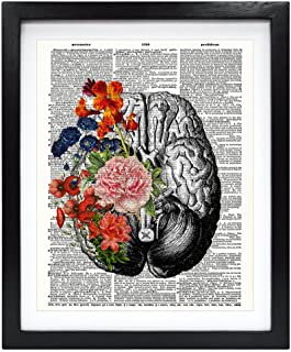 Susie Arts 8X10 Unframed Human brain with flowers Springtime Mind Vintage Upcycled Dictionary Art Print Book Art Print Home Decor Funny Art Print V099