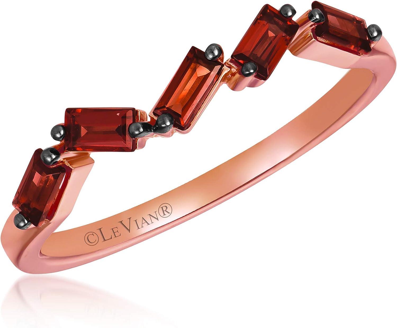 LeVian 14K Rose Translated Gold shopping Baguette Cut Garn Smoky Brown Red Quartz OR