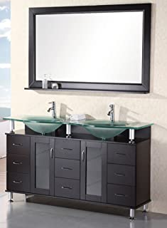 Design Element Redondo Double Integrated Tempered Glass Countertop and Frosted Sink Vanity Set with Espresso Finish, 61-Inch