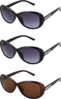 46560481852a Y&S Womens and Girls Two Black and One Brown Ladies Butterfly Oval  Sunglasses Combo of 3