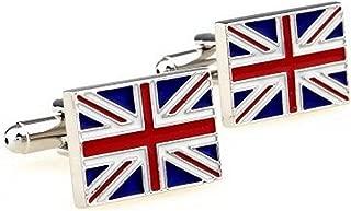 RXBC2011 Men's British Flag Style French Shirts Cufflinks 1 Pair Set Blue