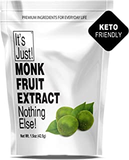 It's Just - 100% Monkfruit Extract Powder, Keto Friendly Sweetener, Monk Fruit, Sugar-Free, Non-GMO, 25% Mogrosides, Non-G...