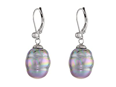 Majorica 12mm Baroque Pearl Drop Earrings (Gray) Earring