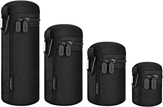 ARVOK Lens Pouch Set, Water Resistant Protective Lens Cases for DSLR Camera Lens, 4 Size Thick Camera Lens Bag for Nikon, Tamron, Sigma, Pentax, Sony, Olympus, Panasonic