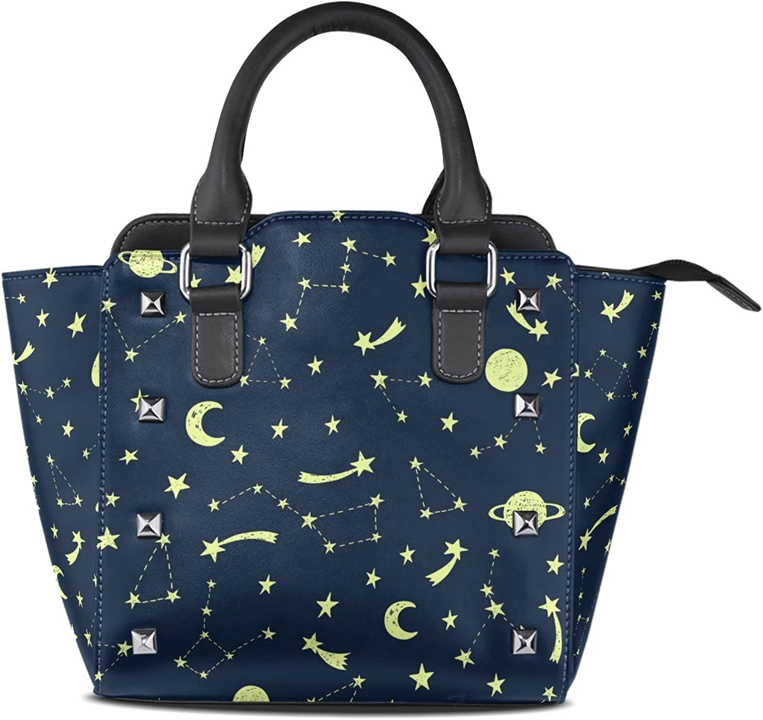 My Little Nest Women's Top Handle Satchel Handbag Night Sky Shining Stars Planets Ladies PU Leather Shoulder Bag Crossbody Bag