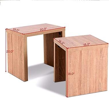 Set of 2 Nesting Coffee End Table Side Table Wood Color Living Room Furniture,Storage Shelf Display Living Room, Storage Rack