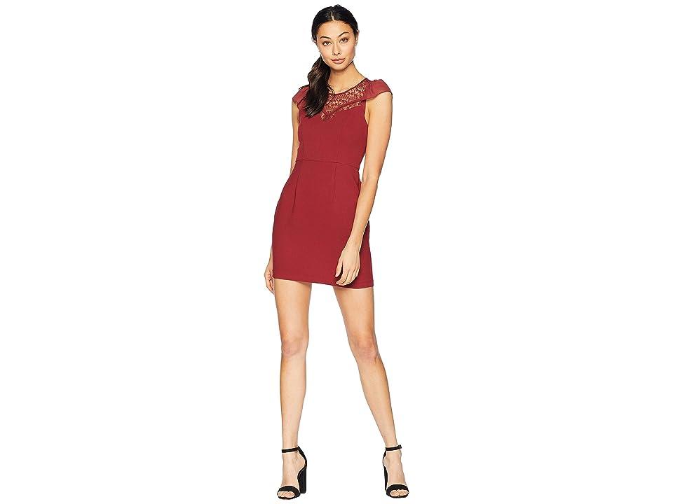 BCBGeneration Lace-Insert Sheath Dress (Ruby Wine) Women