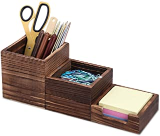 MaxGear 4 in 1 Rustic Desk Organizer, Wood Desk Accessories with Magnetically Adjustable Pen Holder, Paperclip Storage, St...