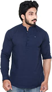 Twist Men's Linen Chinese Collar Short Kurta Shirt