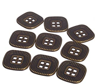 Zinc Diecasted Metal Button - Square Rounded Edges - Square Holes - Dotted Pattern - 36 Line - Ant. Brass