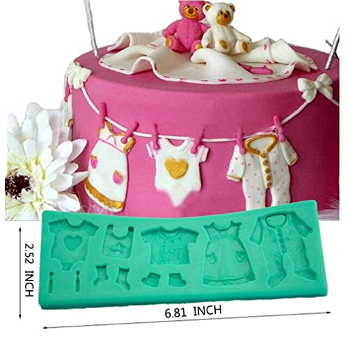 729b973264b8 TANGCHU Fondant Cake Lace Mold Baby Clothes Washing Line Silicone Molds  Cake Decorating 6.812.520.31