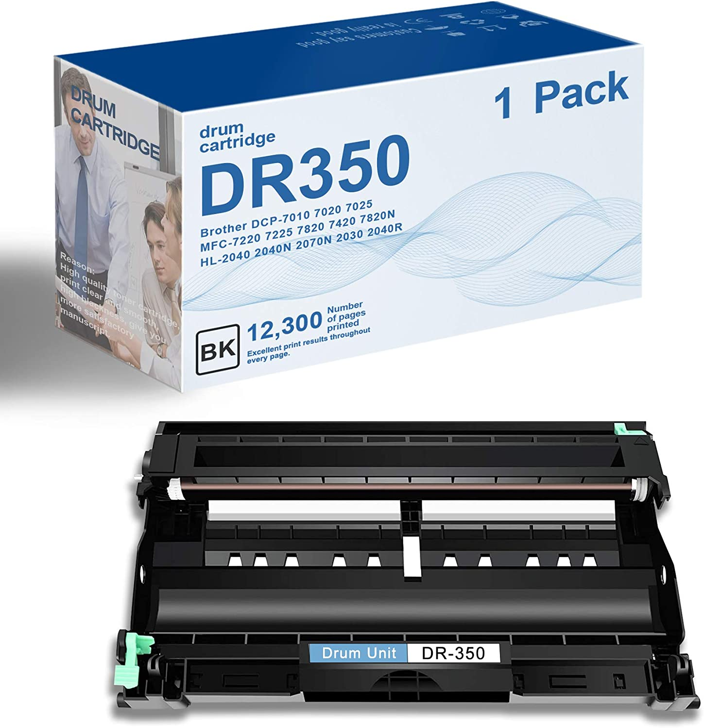 1 Pack Black DR350 Compatible Drum Unit Replacement for Brother-7020 7010 IntelliFax-2820 2850 MFC-7225 7420 7820N HL-2040 2070N 2040R 2040N 2030 Printer Drum Unit,High Page Yield Up to 12,300 Pages