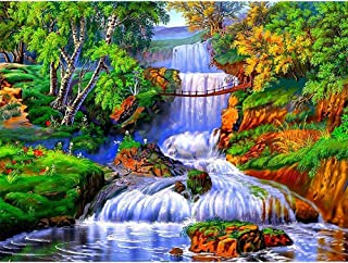 Diamond Painting Kits for Adults Kids, 5D DIY Waterfall Diamond Art Accessories with Round Full Drill for Home Wall Decor - 15.7×11.8Inches