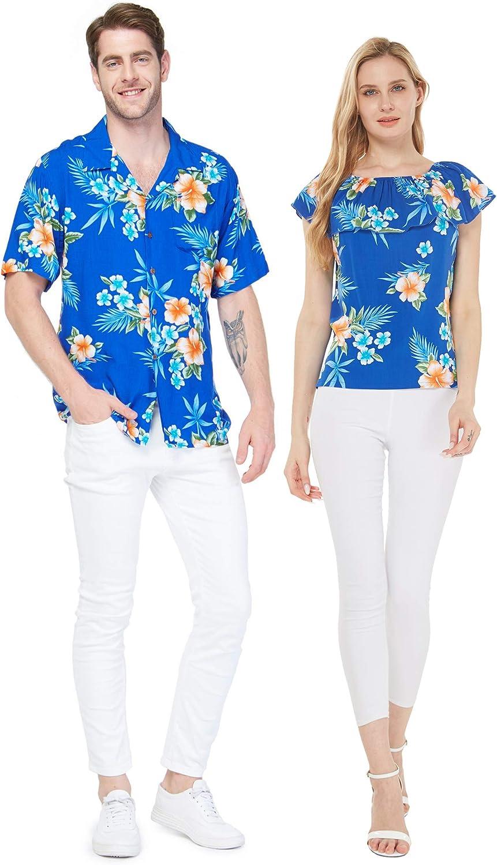 Couple Matching Hawaiian Luau Super intense SALE Shirt Las Vegas Mall Sandy Off-Shoulder Top in Be