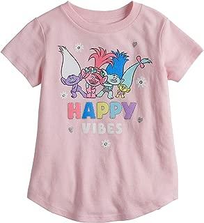 Jumping Beans Toddler Girls 2T-5T DreamWorks Trolls Poppy & Branch Happy Vibes Glitter Graphic Tee