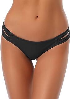 e15694adff0 SHEKINI Cheeky Bikini Bottoms Strappy Low Rise Brazilian Thong Swim Shorts  for Women