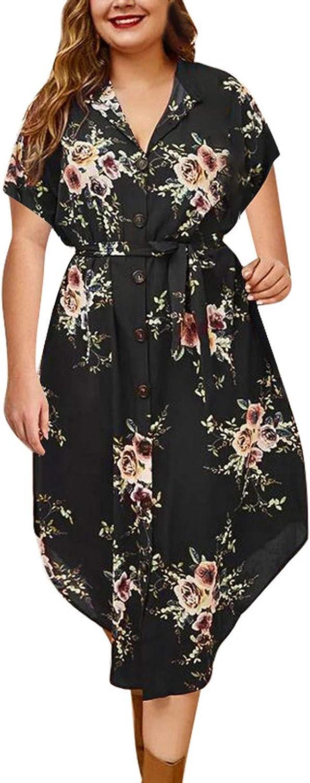 Women's Bohemian Floral Printed Sundress Wrap V Neck Short Sleeve Flowy Boho Long Beach Party Maxi Dress