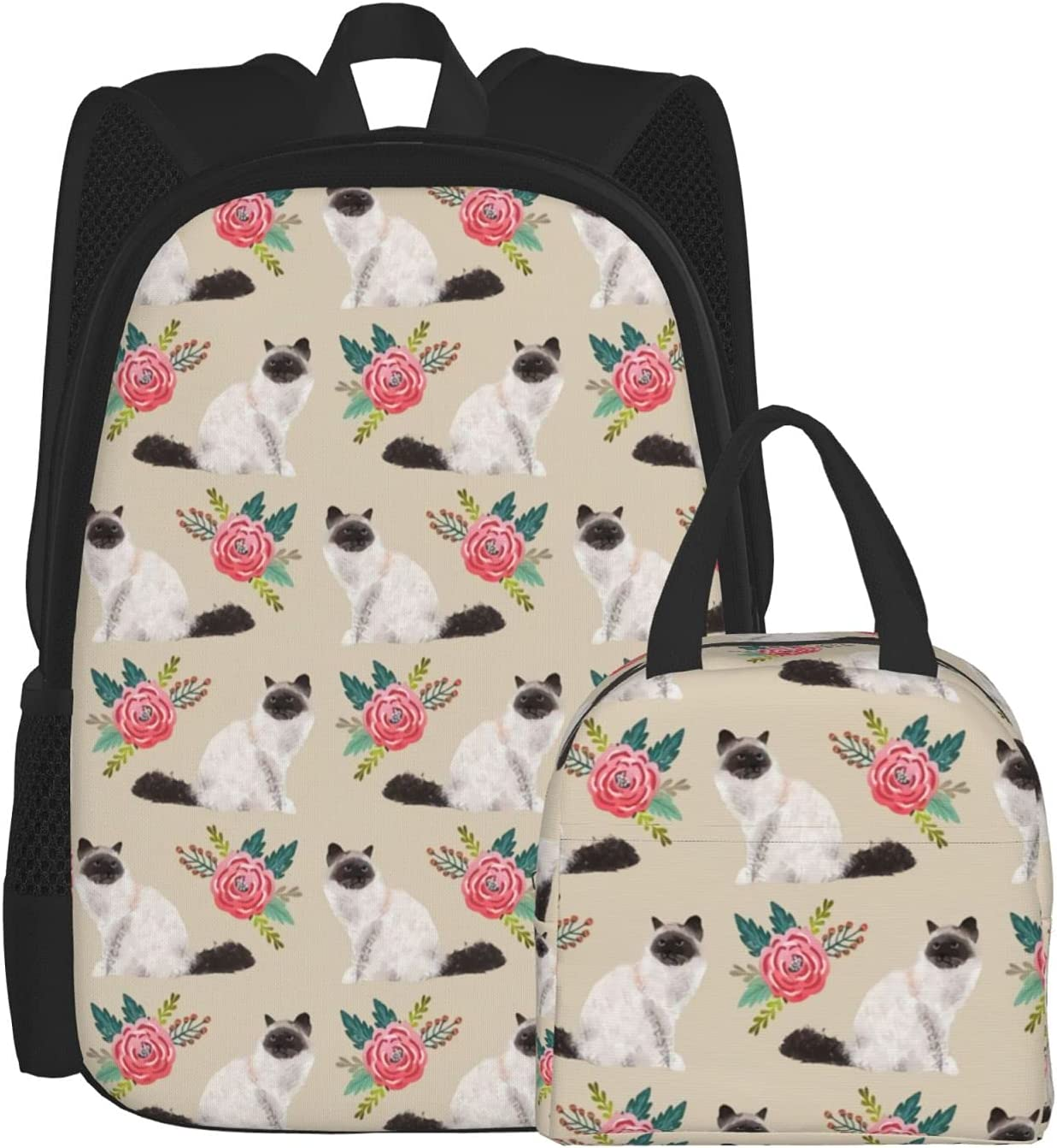 Backpacks OFFicial mail order for Girls Outlet sale feature Boys Birman Cat and Lunch Rose Bag Ba Unisex
