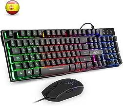 Mafiti RK101 Combo Ratón y Teclado USB , Retroiluminación Rainbow LED y sensación de teclado mecánico, ideal para jugar y trabajar.