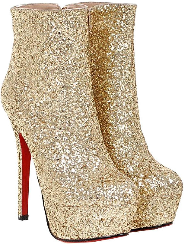 Qiusa Weibliche Weibliche Stiefel Die Nachtschuhe Der Hohen Schuhe Der Schuhe Wedding Sind (Farbe   Gold, Größe   39EU)  Zähler echt